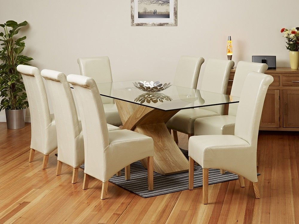 2 Metre Glass Top Dining Table Set – 1Home – Glass Dining Table Throughout Glass Top Oak Dining Tables (Image 1 of 25)