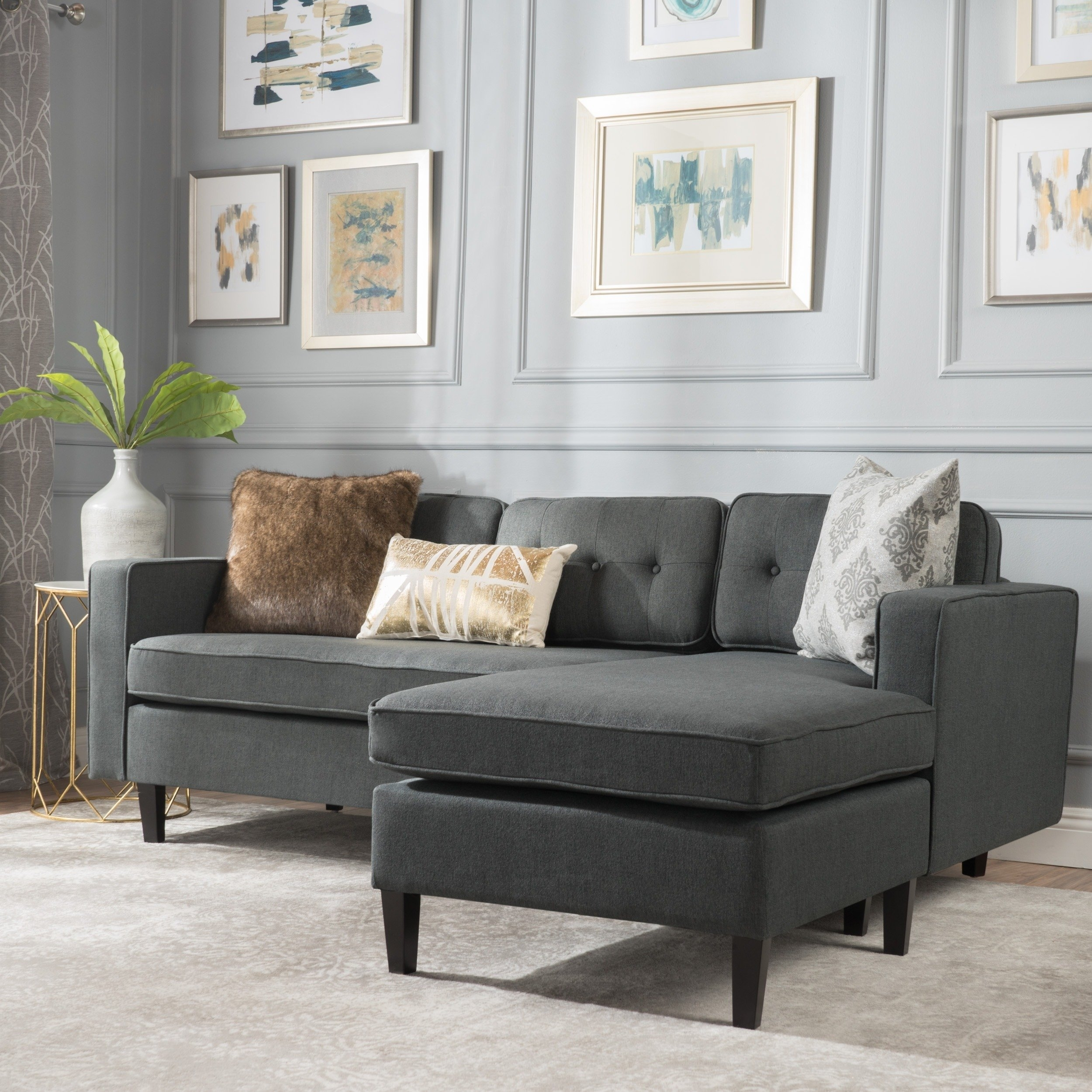 2 Piece Chaise Sectional Sofa | Baci Living Room pertaining to Tenny Dark Grey 2 Piece Right Facing Chaise Sectionals With 2 Headrest