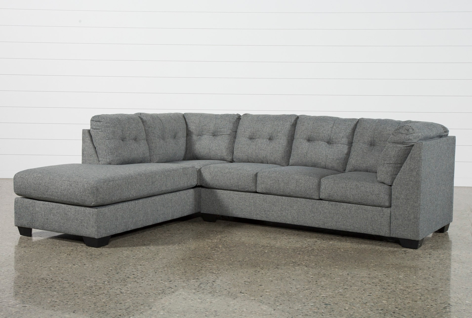 2 Piece Sectional Lucy Grey W Laf Chaise Living Spaces 225935 Fabric with regard to Lucy Dark Grey 2 Piece Sectionals With Raf Chaise