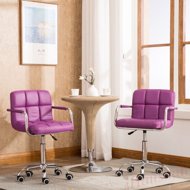 2* Purple Breakfast Wheel Bar Stool Pu Faux Leather Swivel Kitchen For Purple Faux Leather Dining Chairs (Image 3 of 25)