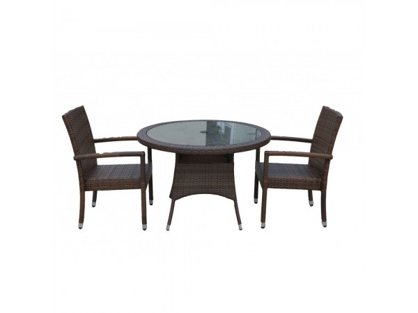 2 Rio Armed Stacking Rattan Garden Chairs And Small Round Dining Regarding Rio Dining Tables (Photo 17 of 25)