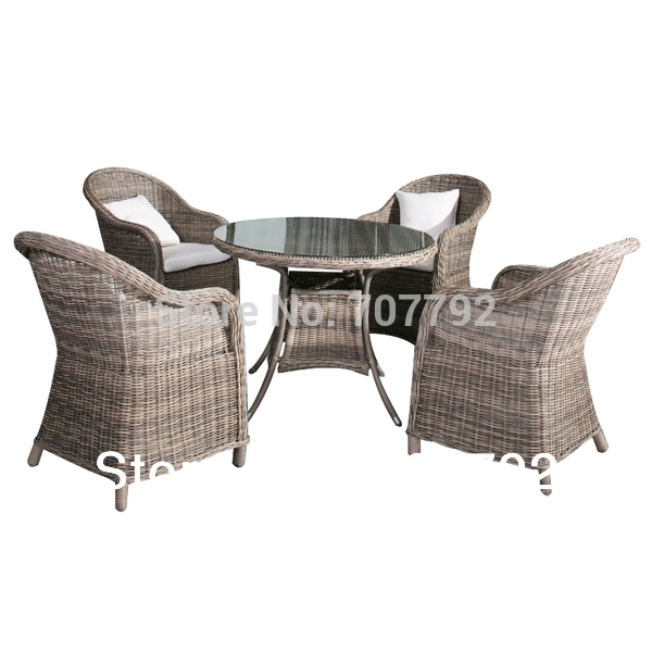 2014 Garden Style 5 Piece Rough Rattan Dining Table And Chairs Set Inside Rattan Dining Tables And Chairs (Image 2 of 25)