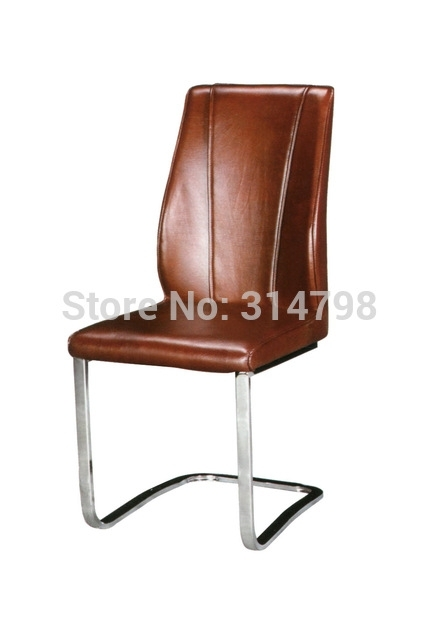 2015 Luxury Brown Leather Dining Chair, Metal Chrome Dining Chairs Intended For Chrome Leather Dining Chairs (Image 1 of 25)