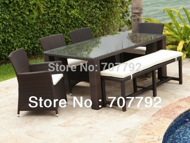 2017 New Design Wicker 7Pcs Dining Set, Long Pe Rattan Glass Dining in Wicker And Glass Dining Tables