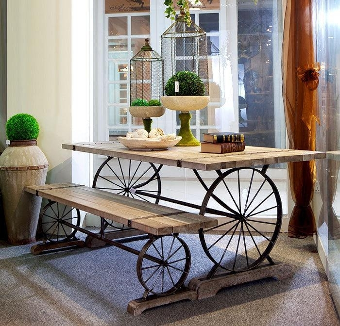 2018 New Retro Wrought Iron Wood Dining Tables And Chairs Cafe Bar In Retro Dining Tables (Image 2 of 25)