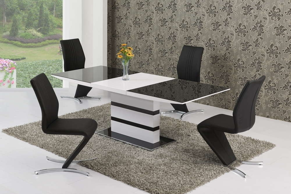 220Cm Extending Black Glass White Gloss Dining Table And 8 Chairs pertaining to Extending Black Dining Tables