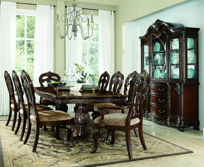 2243 114 7 Pc Deryn Park Cherry Finish Wood Double Pedestal Dining With Regard To Pedestal Dining Tables And Chairs (Photo 11 of 25)