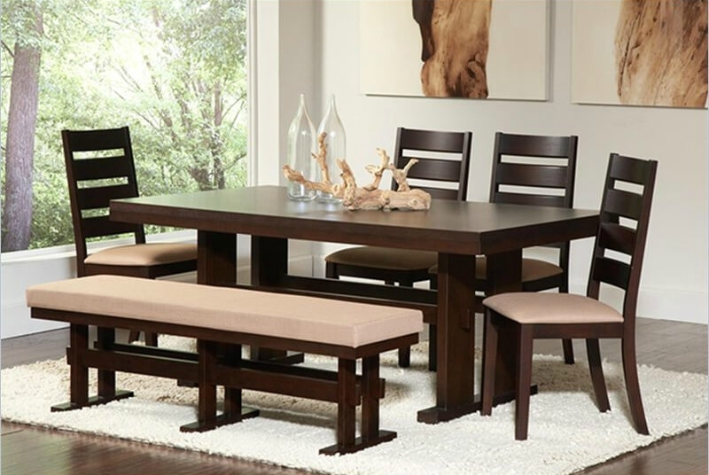 26 Dining Room Sets (Big And Small) With Bench Seating (2018) In Dining Tables Bench Seat With Back (Image 1 of 25)