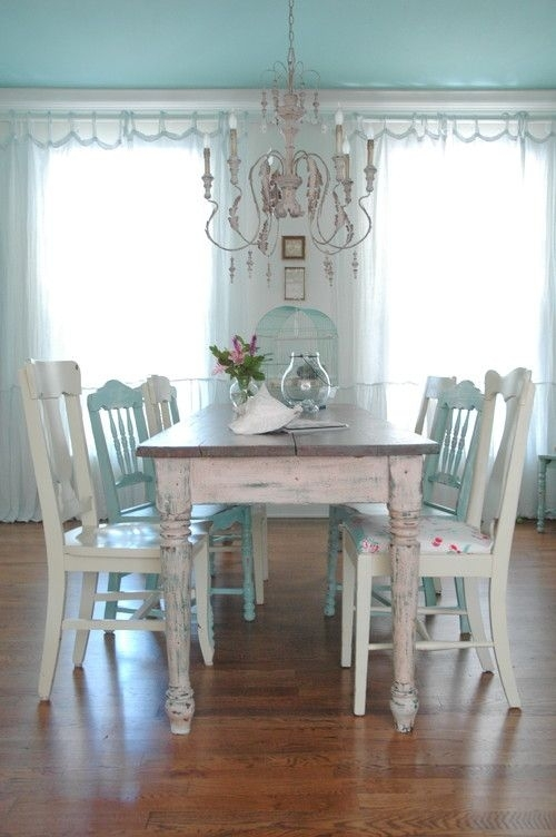 26 Ways To Create A Shabby Chic Dining Room Or Area - Shelterness intended for Shabby Chic Cream Dining Tables and Chairs