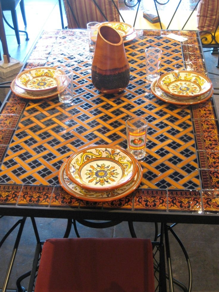 29 Best Mosaic Tables Images On Pinterest Mosaic Dining Tables For in Mosaic Dining Tables for Sale