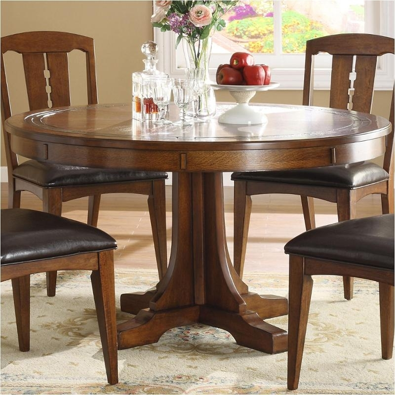 2951 Riverside Furniture Count-A-Height Round Dining Table inside Craftsman Round Dining Tables