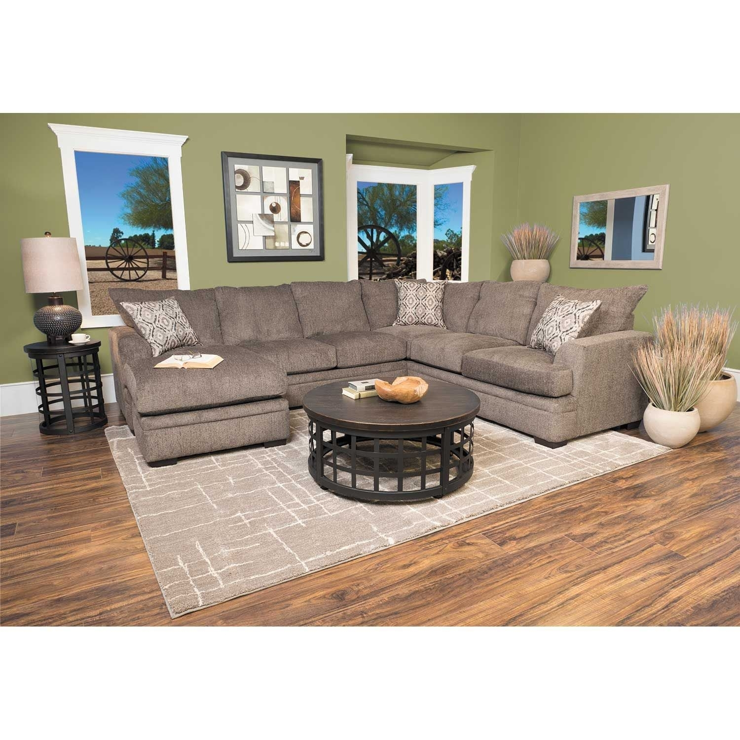 2Pc Pewter Raf Sectional W/chaise C2 68Rc 2Pc | Afw | Afw For Evan 2 Piece Sectionals With Raf Chaise (Image 1 of 25)