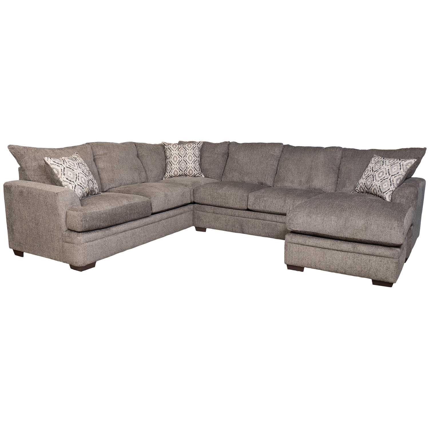 2Pc Pewter Raf Sectional W/chaise C2-68Rc-2Pc | Afw | Afw in Evan 2 Piece Sectionals With Raf Chaise