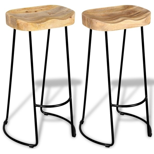 2Pcs Industrial Style Gavin Bar Stools Solid Wood Top Dining Chair within Gavin Dining Tables