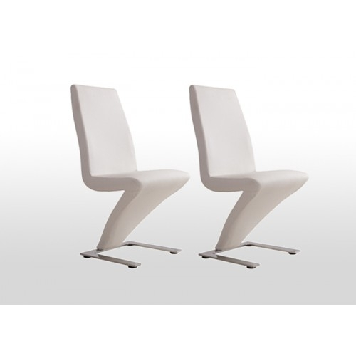 2X Contemporary Z Dining Chairs In White Pu Leather | Buy Sets Of 2 Regarding Perth White Dining Chairs (Image 1 of 25)