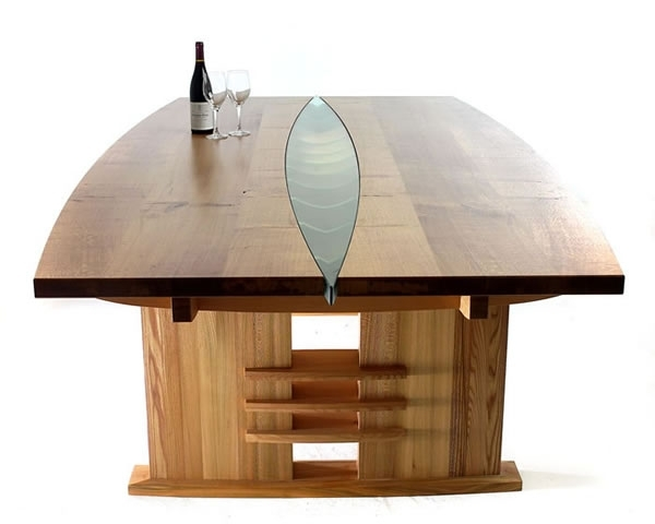 3. Dining Table In Oak, Elm And Douglas Fir With Glass Inser regarding Glass Oak Dining Tables