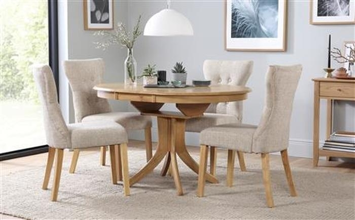 3. Hudson Round Extending Dining Table U0026 4 Chairs Set Bewley Oatmeal With Round Extending Dining Tables And Chairs (Photo 6 of 25)