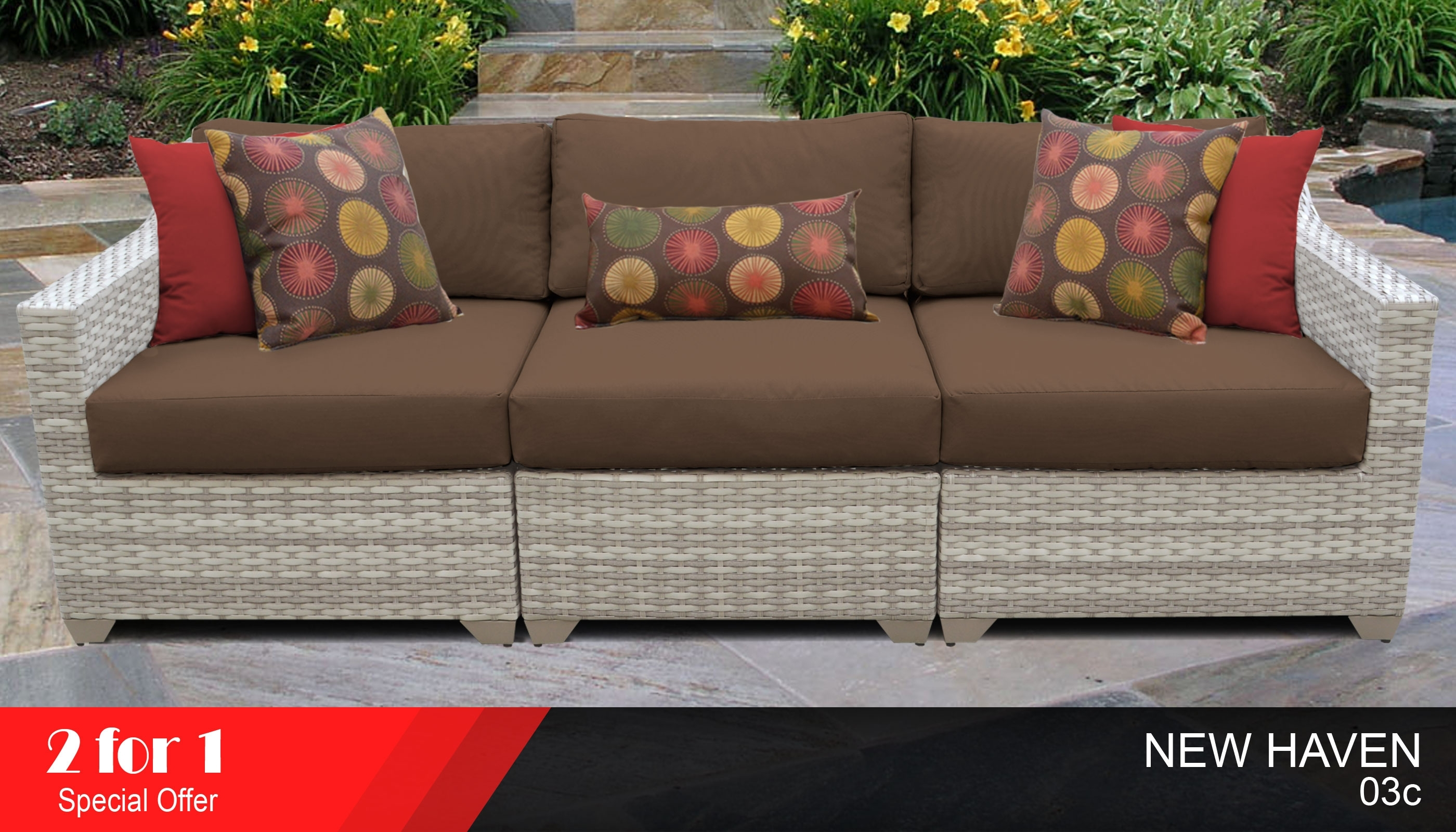 3 Piece Outdoor Sofa Set | Outdoor Wicker Sectional Sofa Intended For Haven 3 Piece Sectionals (Photo 14 of 25)
