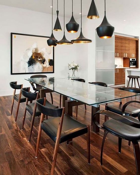 30 Ways To Incorporate A Glass Dining Table Into Your Interior With Glass Dining Tables With Wooden Legs (Image 2 of 25)