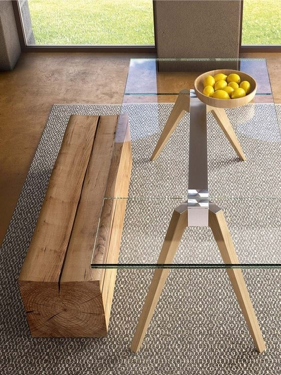 30 Ways To Incorporate A Glass Dining Table Into Your Interior With Glass Dining Tables With Wooden Legs (Image 1 of 25)
