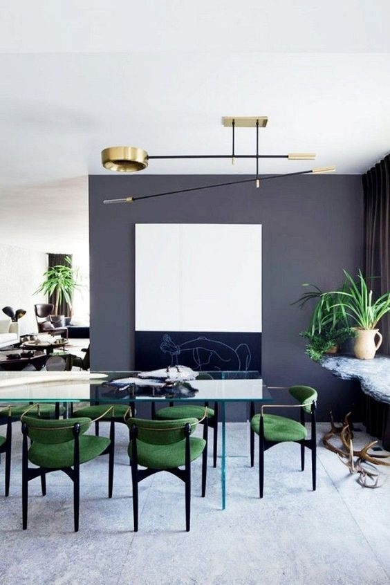 30 Ways To Incorporate A Glass Dining Table Into Your Interior With Regard To Green Dining Tables (Photo 20 of 25)
