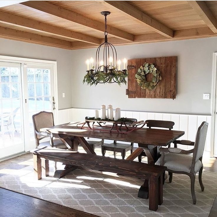 33+ Amazing Farmhouse Table Design Ideas #farmhouse #farmh Throughout Chandler 7 Piece Extension Dining Sets With Fabric Side Chairs (Image 1 of 25)