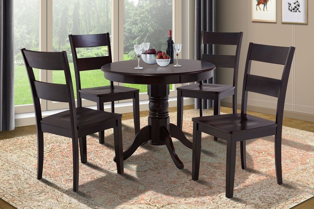 "36"" Brookline Dinette Dining Room Round Table Set In Cappuccino intended for Lindy Espresso Rectangle Dining Tables"
