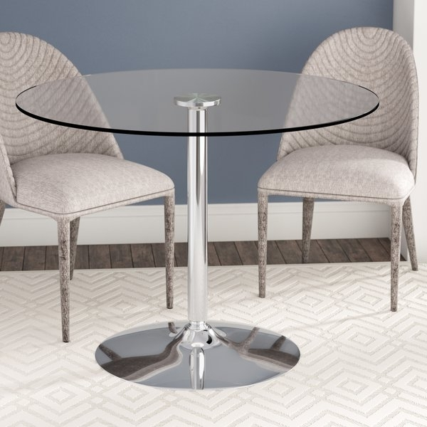36 In Round Glass Dining Table | Wayfair Inside Ina Pewter 60 Inch Counter Tables With Frosted Glass (Image 3 of 25)