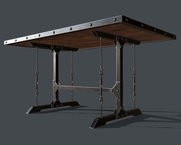 3D Asset Industrial Style Dining Table For Pbr Challenge 1 For Industrial Style Dining Tables (Photo 16 of 25)