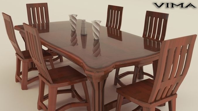 3D Model Stylish Wooden Dining Table Set | Cgtrader For Wooden Dining Sets (Photo 8 of 25)