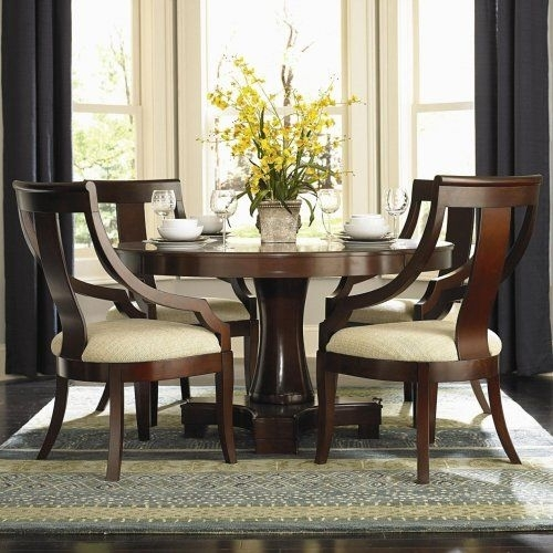 3F7101181Pg – Violante Round Pedestal Dining Table + 4 Chairs Intended For Candice Ii 5 Piece Round Dining Sets With Slat Back Side Chairs (Photo 17 of 25)