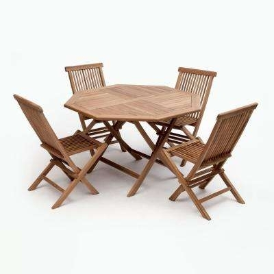 4 5 Person – Teak – Standard Dining Height – Patio Dining Sets Inside Outdoor Brasilia Teak High Dining Tables (Photo 4 of 25)