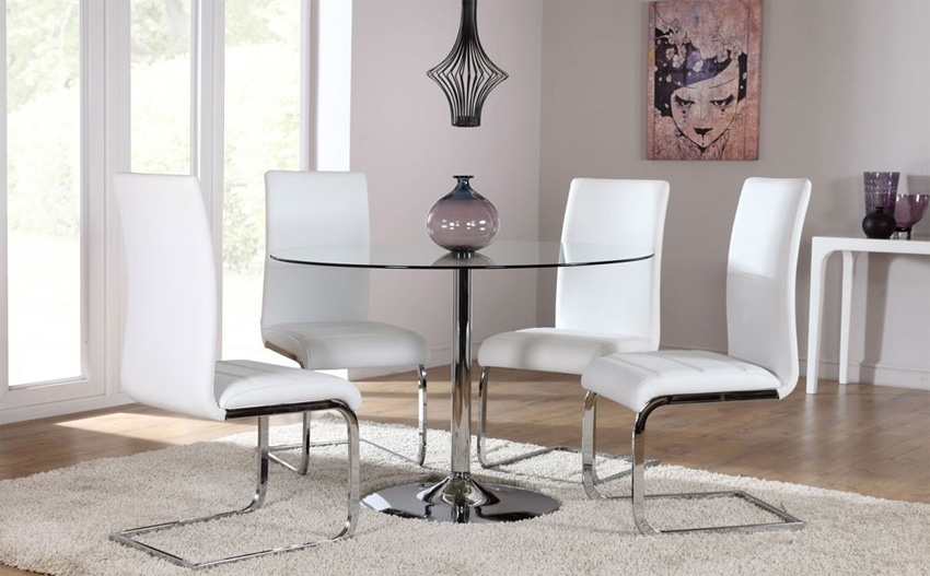 4 Optimal Choices In Glass Dining Table And Chairs – Blogbeen With Regard To Glass And Chrome Dining Tables And Chairs (Image 3 of 25)