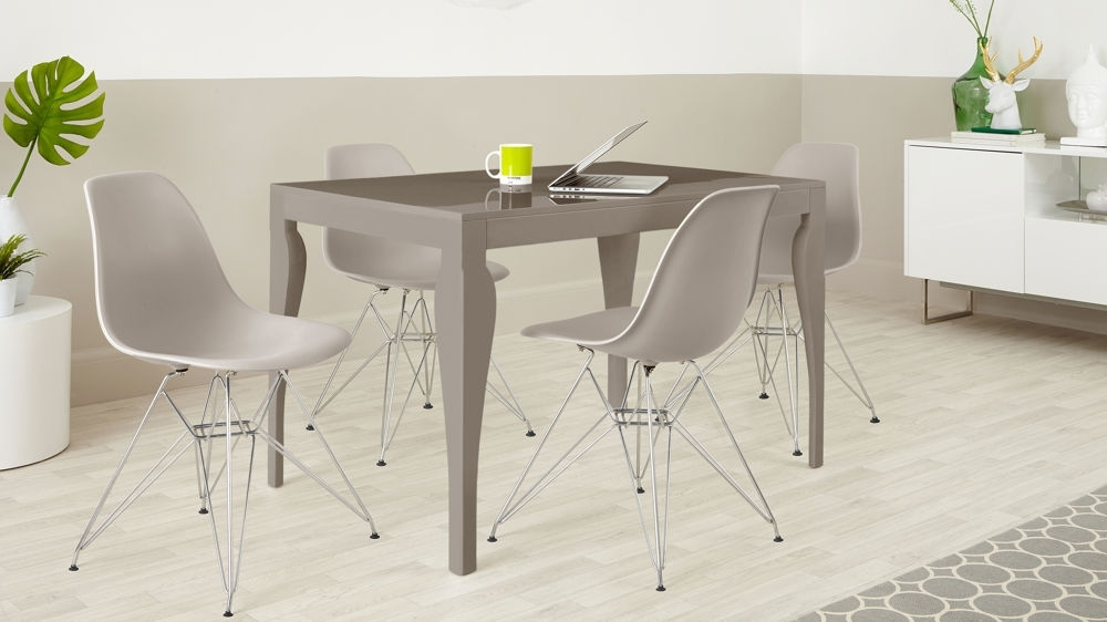 4 Seater Dining Set | Taupe Grey Gloss | Eames Dining Chairs Regarding Gloss Dining Sets (View 7 of 25)