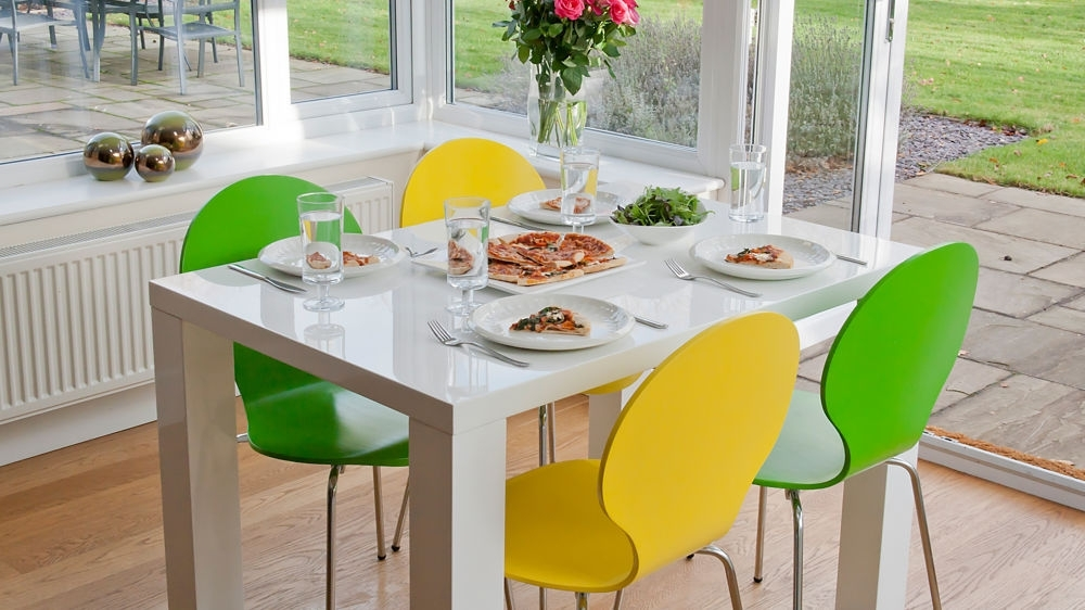4 Seater Dining Set | White Gloss Table | Coloured Chairs Uk Pertaining To Gloss Dining Tables And Chairs (Image 1 of 25)