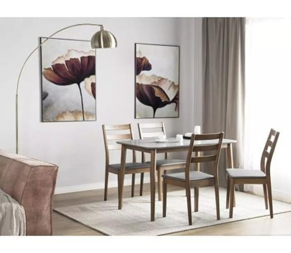 4 Seater Dining Table & Chair Set Dark Brown Wood Grey Faux Leather With Dark Brown Wood Dining Tables (View 18 of 25)