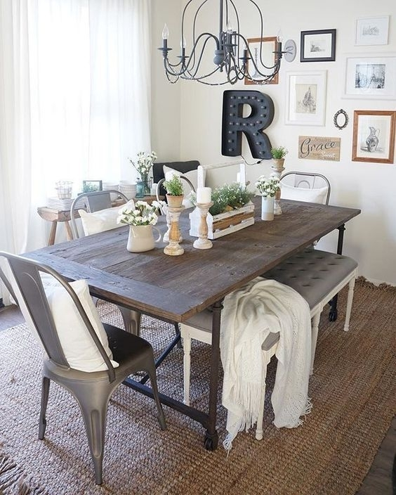 41 Rustic Farmhouse Dining Room Decor And Design Idea – | Rustic In Amos 6 Piece Extension Dining Sets (Photo 9 of 25)
