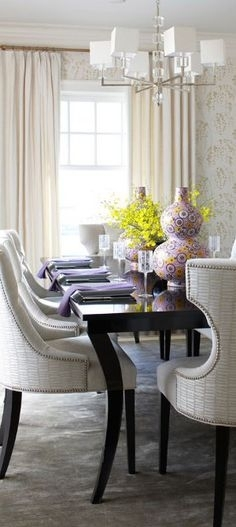 413 Best Dining Spaces Images On Pinterest In 2018 | Lunch Room Pertaining To Palazzo 7 Piece Dining Sets With Pearson Grey Side Chairs (Image 4 of 25)