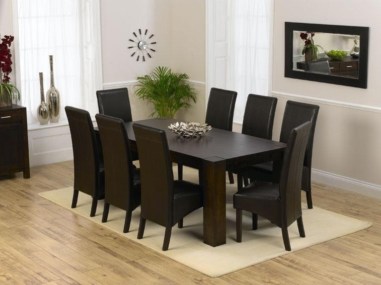 46 8 Chair Dining Table Set Black Glass Room And For Idea 2 In Dining Tables And 8 Chairs Sets (Photo 14 of 25)