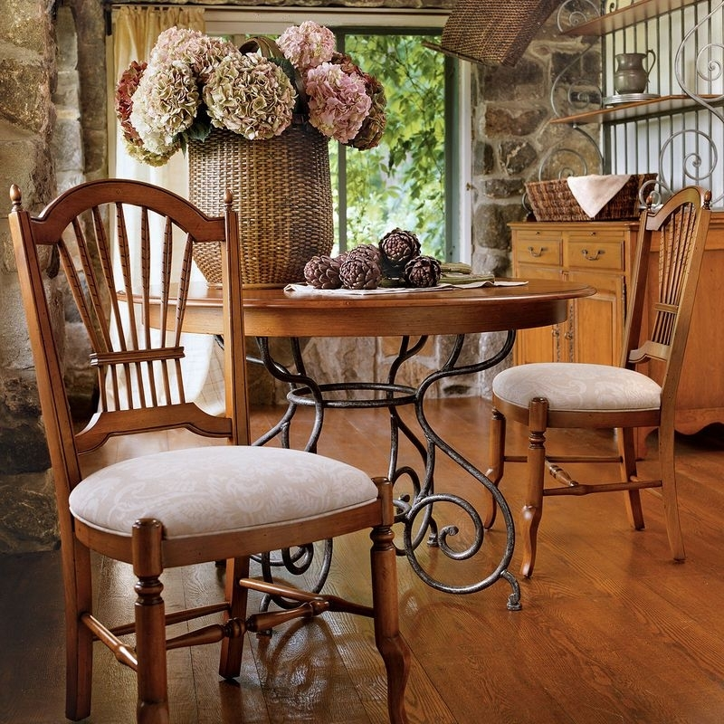 """46"""" Small Brittany Dining Table With Wrought Iron Base Ethan Allen throughout Brittany Dining Tables"""
