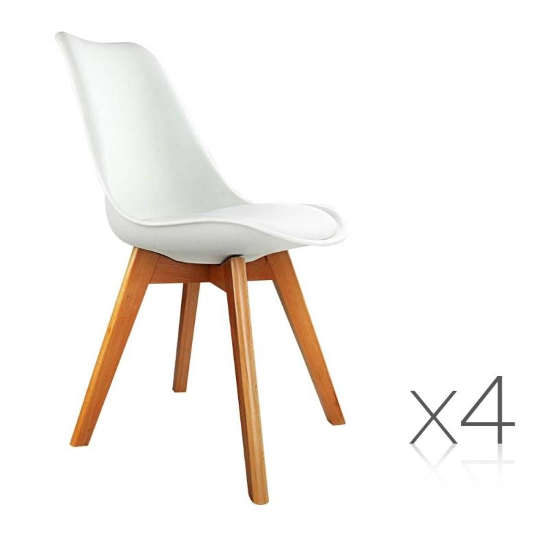 4X Replica Eames Pu Leather Dining Chairs In White Buy 8 Chair With Regard To Perth White Dining Chairs (Image 2 of 25)