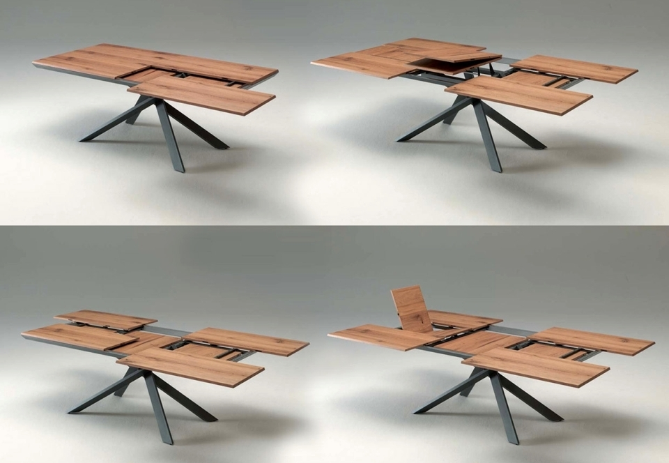 4X4 Extendable Dining Tableozzio Is A Space Saving Furniture With Extendable Dining Tables And 4 Chairs (Image 3 of 25)
