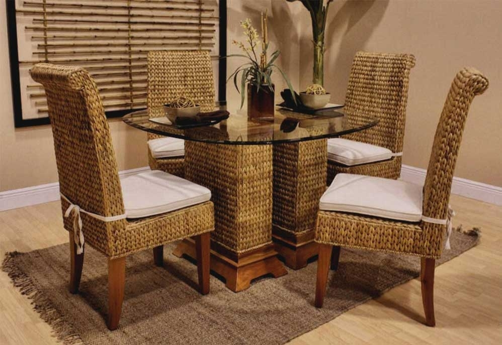 5. Dining Table And Wicker Chairs Rattan Wicker Dining Room Chairs within Rattan Dining Tables