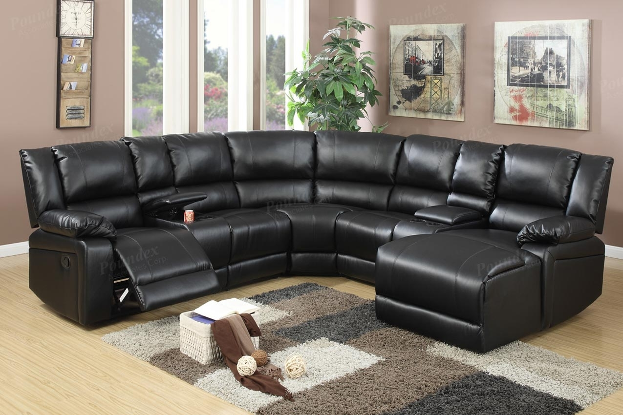 5 Pcs Reclining Sectional Brown Leather Sofa Set Pertaining To Tess 2 Piece Power Reclining Sectionals With Laf Chaise (Image 1 of 25)