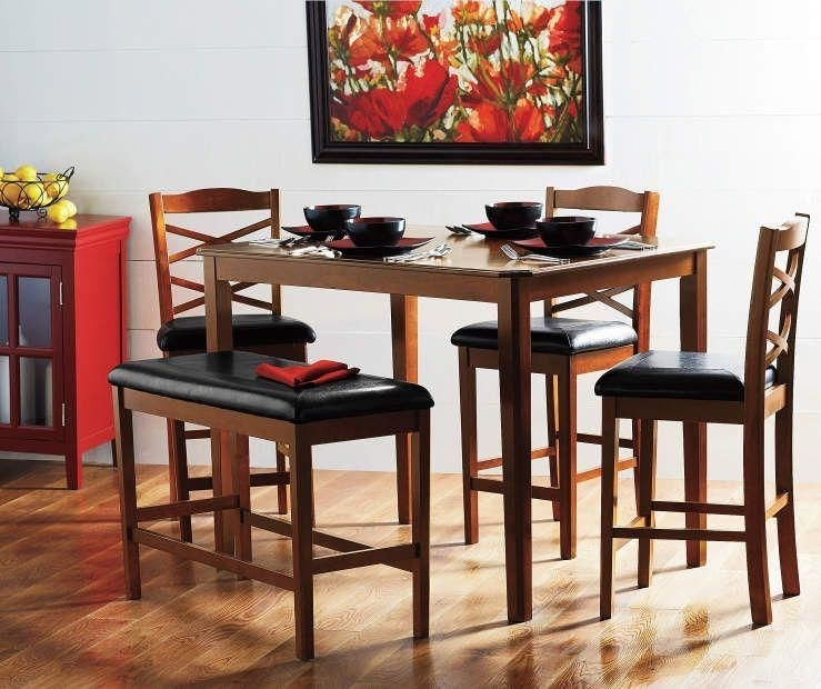5-Piece Bench Pub Set At Big Lots. #pubsetkitchendiningrooms with regard to Valencia 3 Piece Counter Sets With Bench