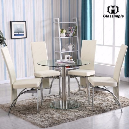 5 Piece Dining Table Set Round Glass 4 Chairs Kitchen Room Breakfast With Grady 5 Piece Round Dining Sets (Image 2 of 25)