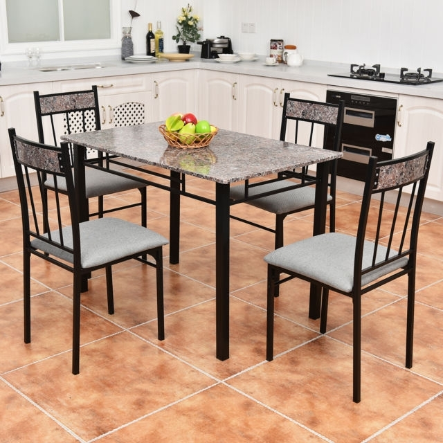 5 Piece Faux Marble Dining Set Table And 4 Chairs Kitchen Breakfast Pertaining To Marble Dining Chairs (Image 1 of 25)
