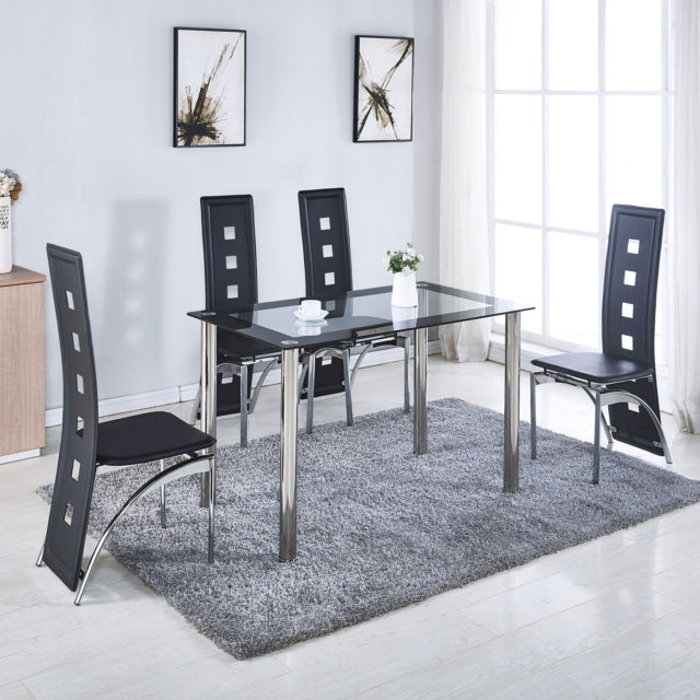 5 Piece Glass Dining Table Set 4 Leather Chairs Kitchen Room pertaining to Glass Dining Tables And Leather Chairs