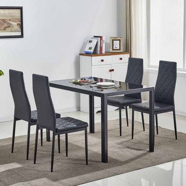 5 Piece Glass Dining Table Set W/4 Chairs Metal Kitchen Room Pertaining To Black Glass Dining Tables And 4 Chairs (Image 1 of 25)