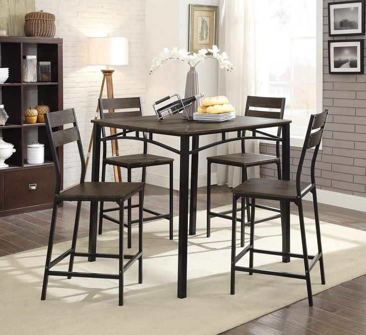 5 Piece Metal And Wood Counter Height Table Set In Antique Brown In Pertaining To Valencia 5 Piece Round Dining Sets With Uph Seat Side Chairs (Image 4 of 25)
